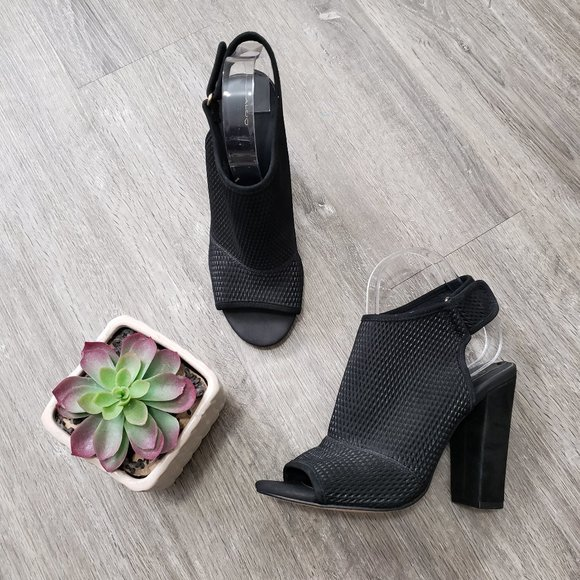 Aldo Black Leather Perforated Sling Back Shoes Sz